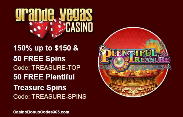 Grande Vegas Casino New Game RTG Plentiful Treasure 150% Bonus plus 100 FREE Spins