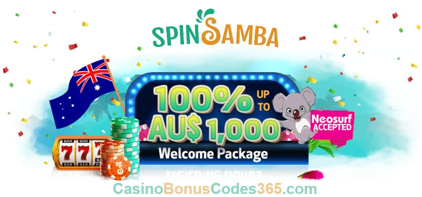 Spin Samba 100% Match Up to AU$1000 Welcome Bonus