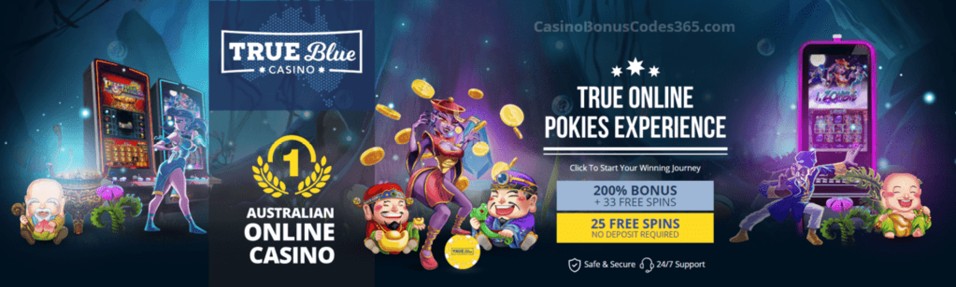 True Blue Casino 200% Match plus 58 FREE Spins Welcome Bonus