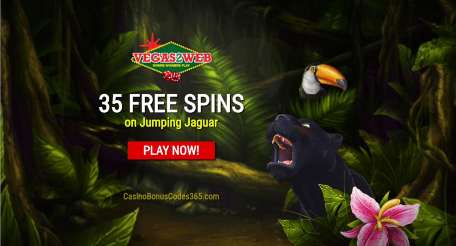 Vegas2Web Casino 35 FREE Spins Exclusive Deal Rival Gaming Jumping Jaguar