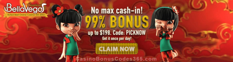 Bella Vegas Casino 99% No Max Bonus