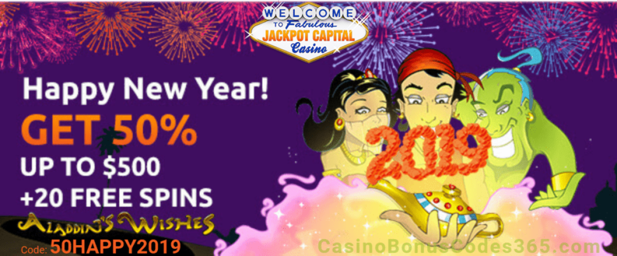 Jackpot Capital Happy New Year 2019 50& up to $500 plus 20 FREE Spins on RTG Aladdin Wishes