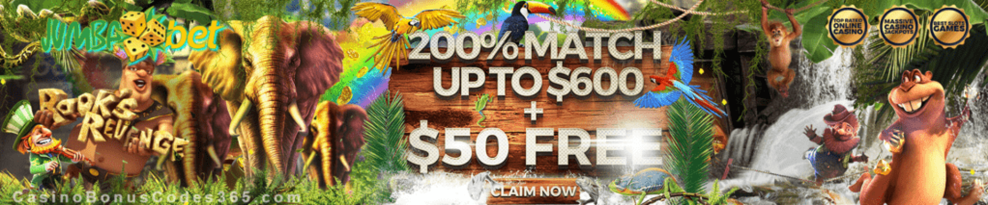 Jumba Bet $200 Match plus $50 FREE Chip Welcome Deal