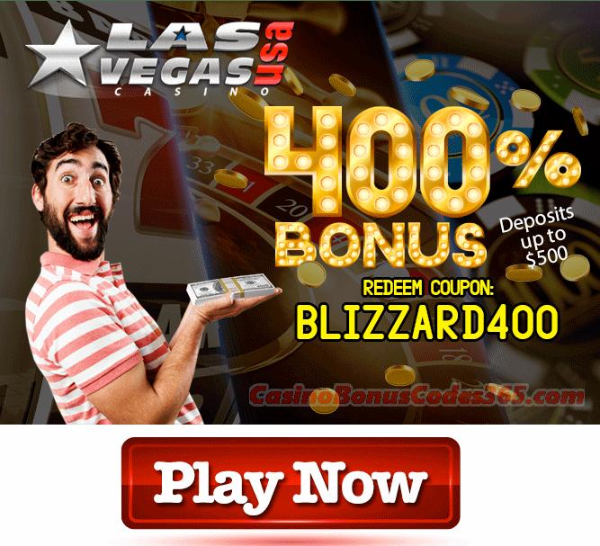 Las Vegas USA Casino 400% Blizzard Match Bonus
