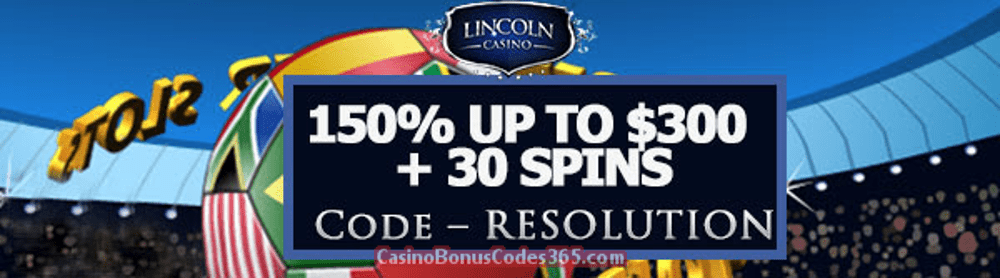 Lincoln Casino 150% up to $300 Bonus plus 30 FREE Spins New Year Special Offer WGS Super Soccer