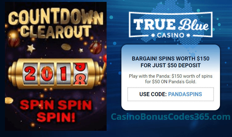 True Blue Casino Countdown Clear Out $150 FREE Chip RTG Pandas Gold