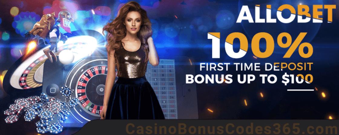 AlloBet Casino 100% Match First Deposit Bonus