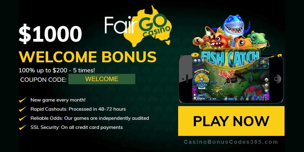 Fair Go Casino RTG Fish Catch $1000 Welcome Bonus