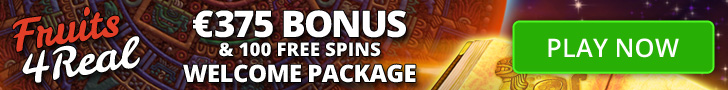 Fruits4Real €375 Bonus plus 100 FREE Spins Welcome Package
