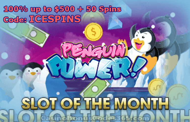 Intertops Casino Red January Slot of The Month RTG Penguin Power 100% up to $500 plus 50 FREE Spins