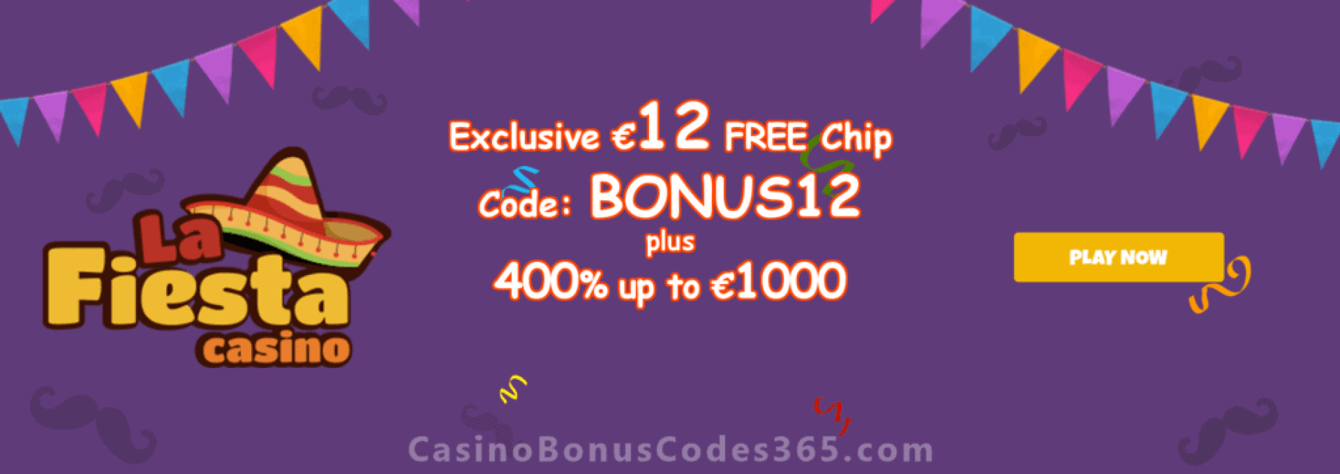 La Fiesta Casino Exclusive €12 FREE Chip Welcome Package