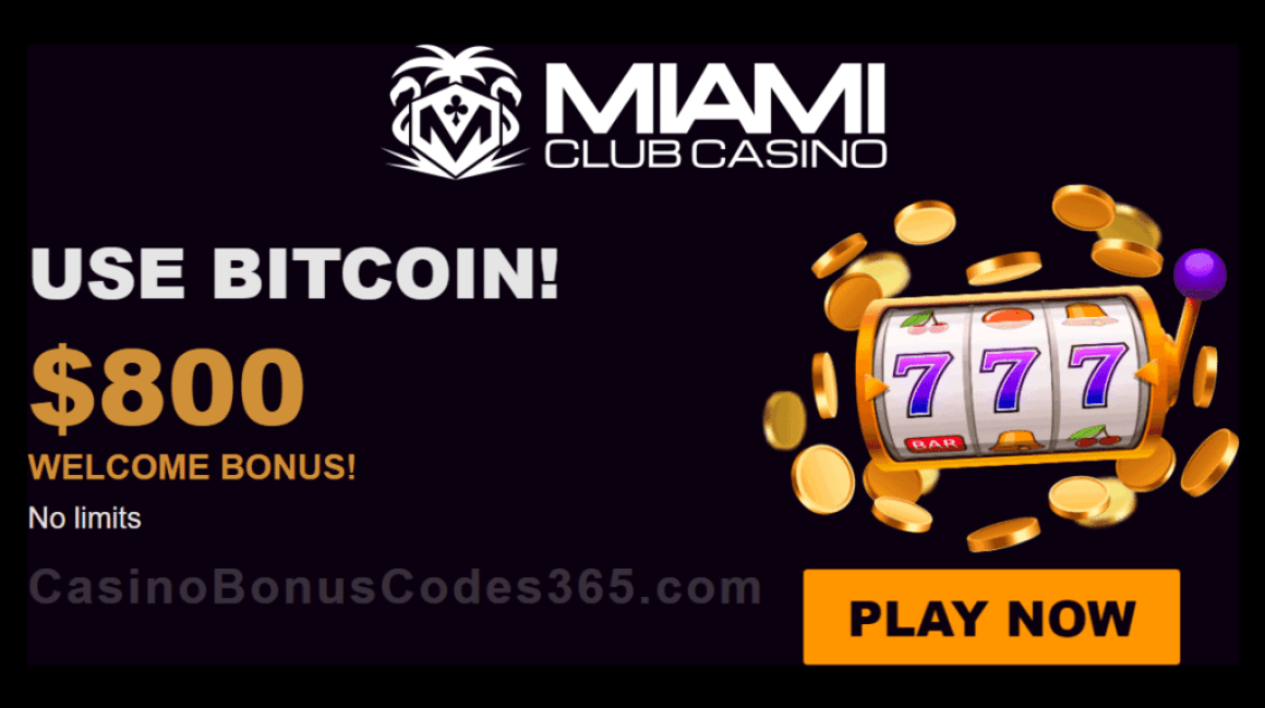 Miami Club Casino $800 Bitcoin Welcome Bonus