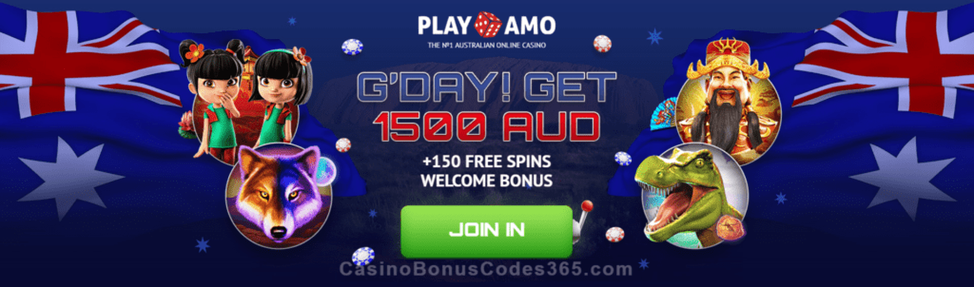 PlayAmo Casino A$1500 plus 150 FREE Spins Welcome Package