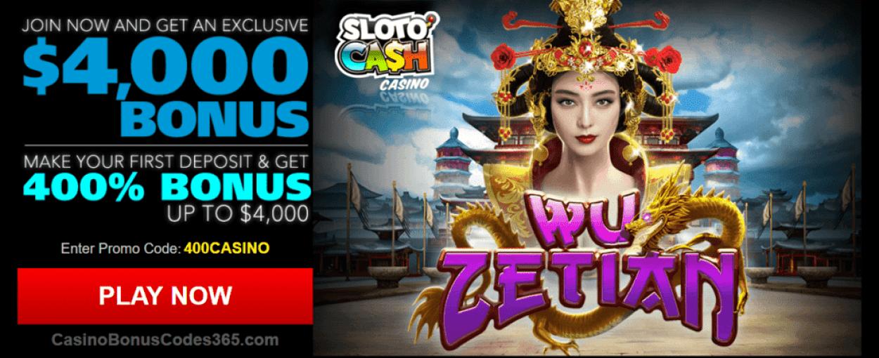 SlotoCash Casino RTG Wu Zetian 400% Welcome Bonus