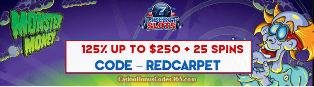 Liberty Slots 125% up to $250 plus 25 FREE Spins on WGS Dog Gone It Special February Promo