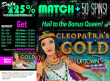 Uptown Aces 225% Daily Match plus 50 FREE Spins Queen Bonus Promo RTG Cleopatras Gold