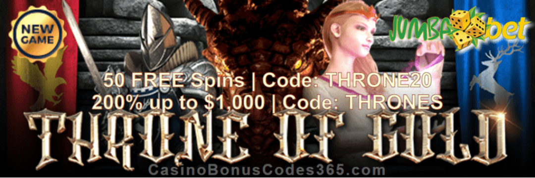 Jumba Bet Saucify Throne of Gold 50 FREE Spins plus 200% Match Bonus Welcome Package