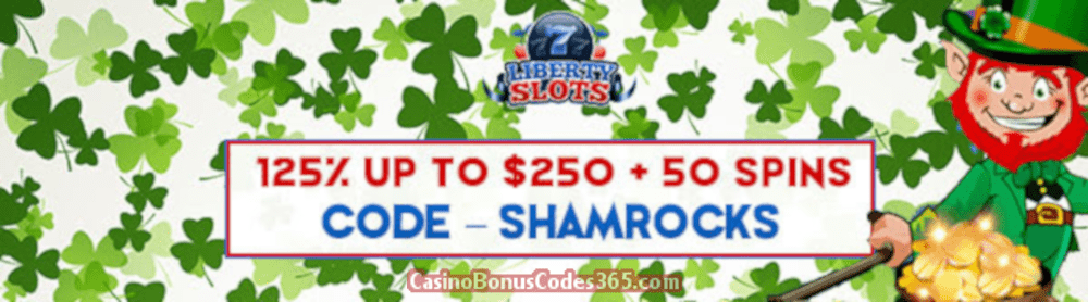 Liberty Slots 125% up to $250 plus 50 FREE Spins on WGS Lucky Irish Special Offer