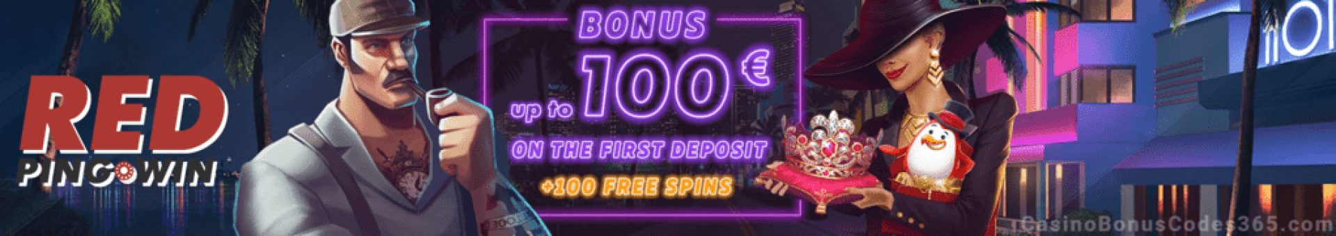RED PingWin Casino $100 Welcome Bonus plus 100 FREE Spins