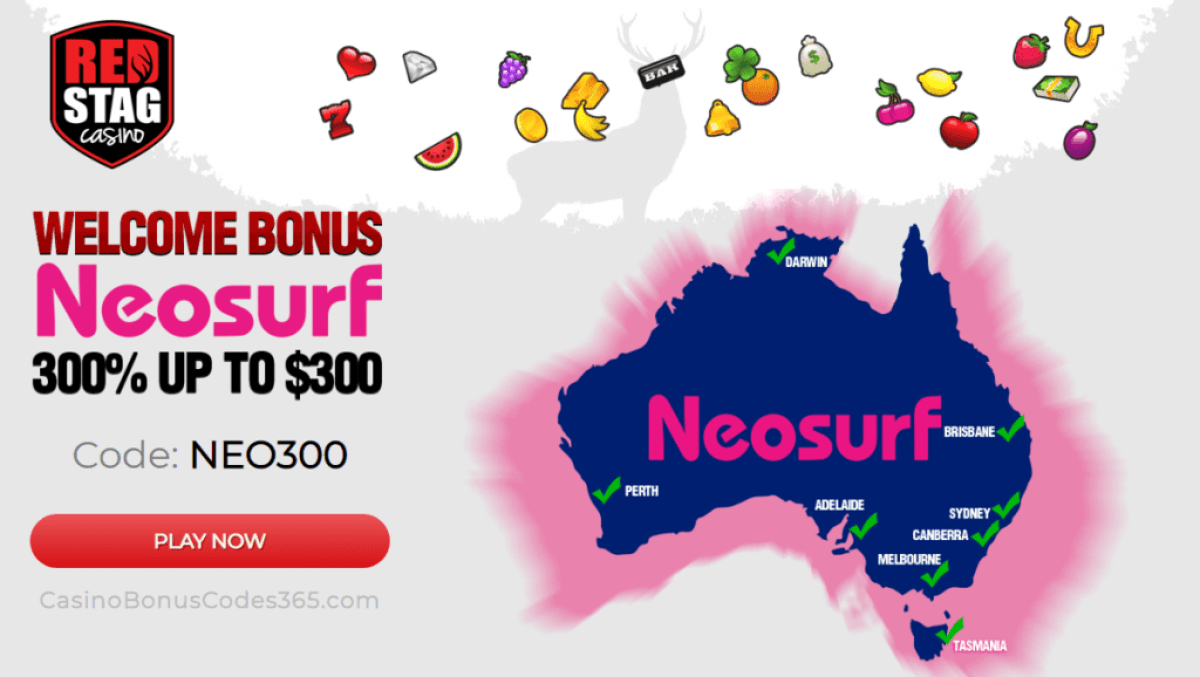 Red Stag Casino Neosurf 300% Welcome Bonus