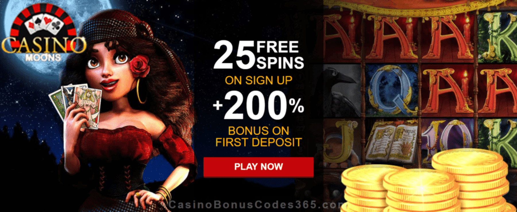 Casino Moons 25 FREE Spins plus 200% Match New Players Sign Up Deal