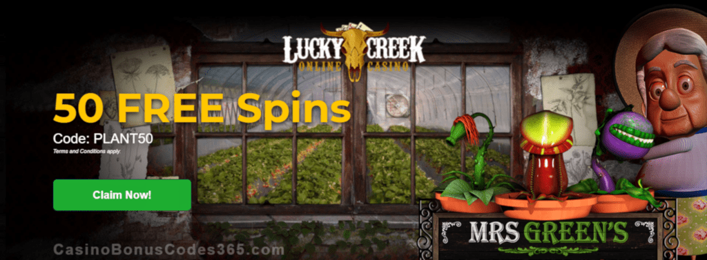 Lucky Creek 50 FREE Saucify Mrs Greens Plant Emporium Spins Exclusive Promo