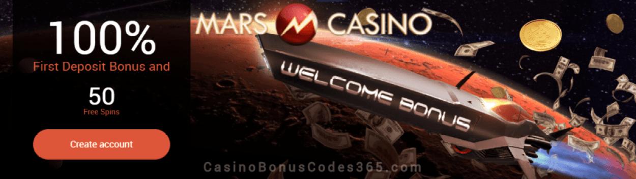 Mars Casino 100% Match plus 50 FREE Spins First Deposit Bonus