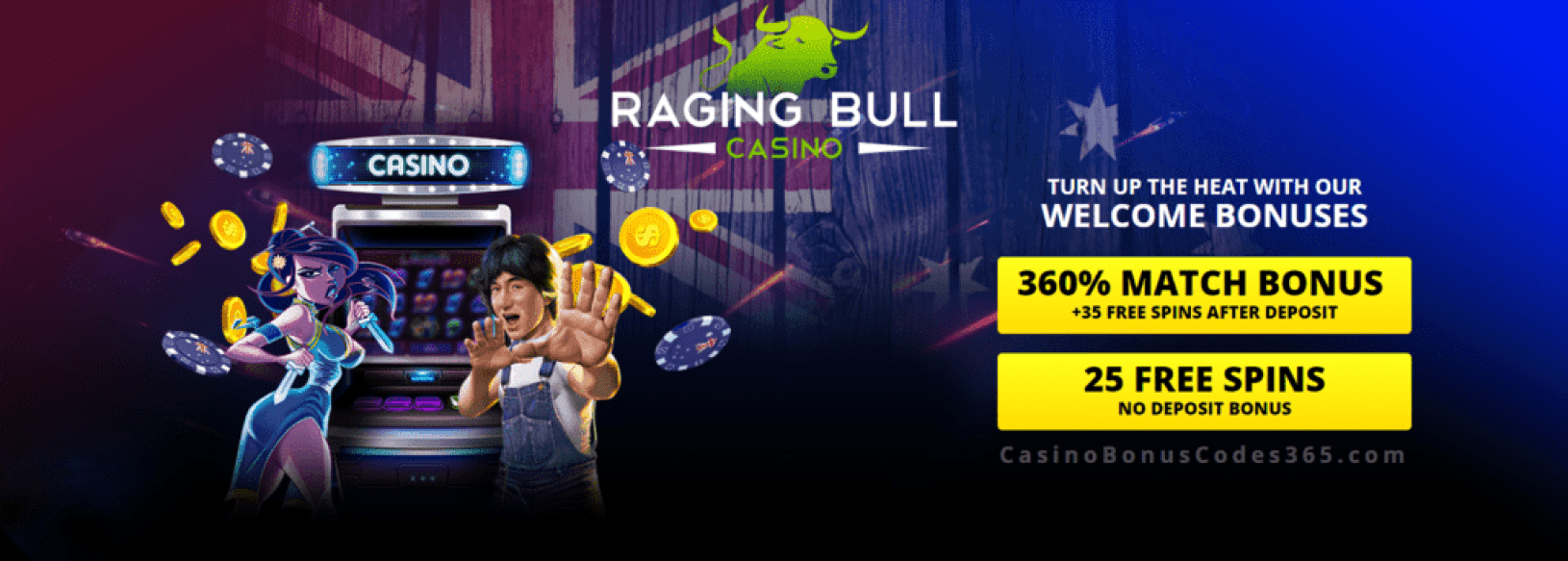 Raging Bull Casino 360% Match Bonus plus 60 FREE Spins Welcome Package RTG i Zombie Fire Dragon