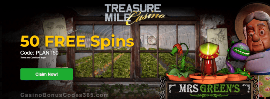 Treasure Mile Casino Exclusive 50 FREE Spins on Saucify Mrs Greens Plant Emporium