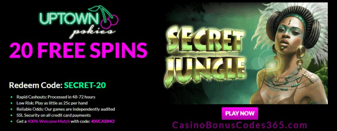 Uptown Pokies 20 FREE RTG Secret Jungle Spins
