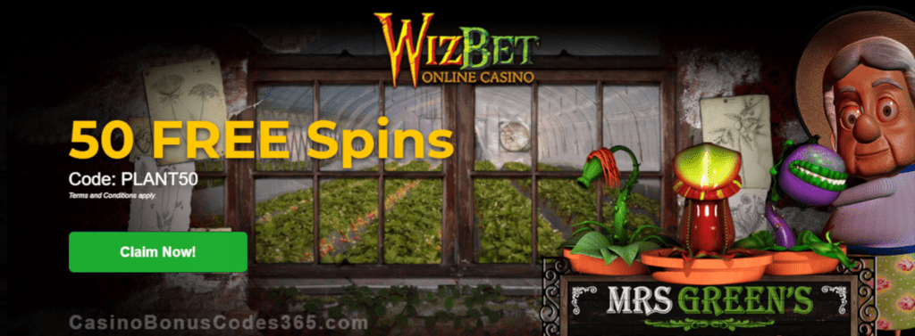 WizBet Online Casino 50 FREE Spins on Saucify Mrs Green's Plant Emporium Exclusive Promo