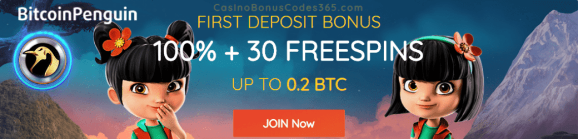 BitcoinPenguin 100% Match plus 30 FREE Spins First Deposit Bonus