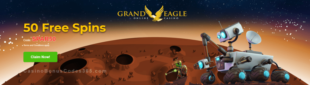 Grand Eagle Casino Exclusive 50 FREE Saucify Spartians Spins