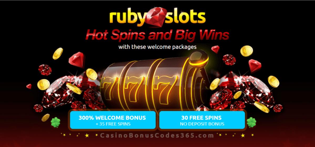 RubySlots 300% Match Bonus plus 65 FREE Spins Welcome Package RTG Plentiful Treasure Cubee