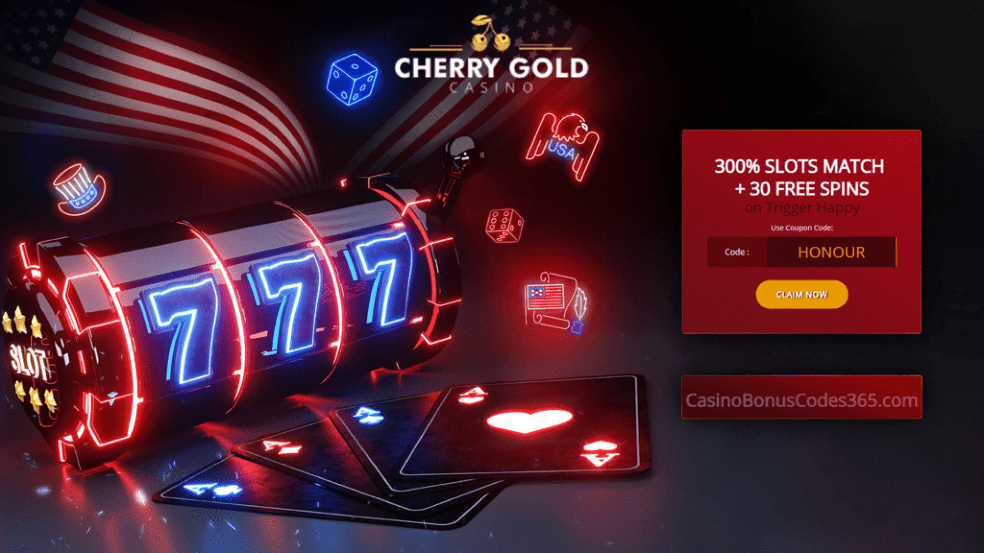 Cherry Gold Casino 300% Match Bonus plus 30 FREE Spins RTG Trigger Happy Independence Day Promo
