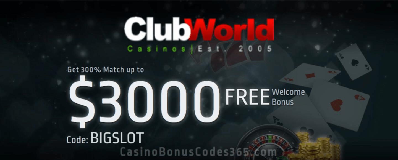 Club World Casino 300% Welcome Bonus up to $3000