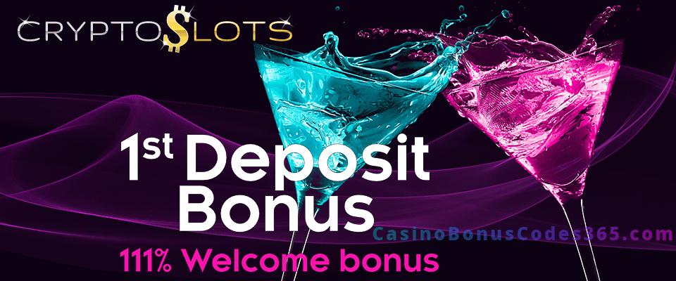 CryptoSlots 111% 1st Deposit Bonus