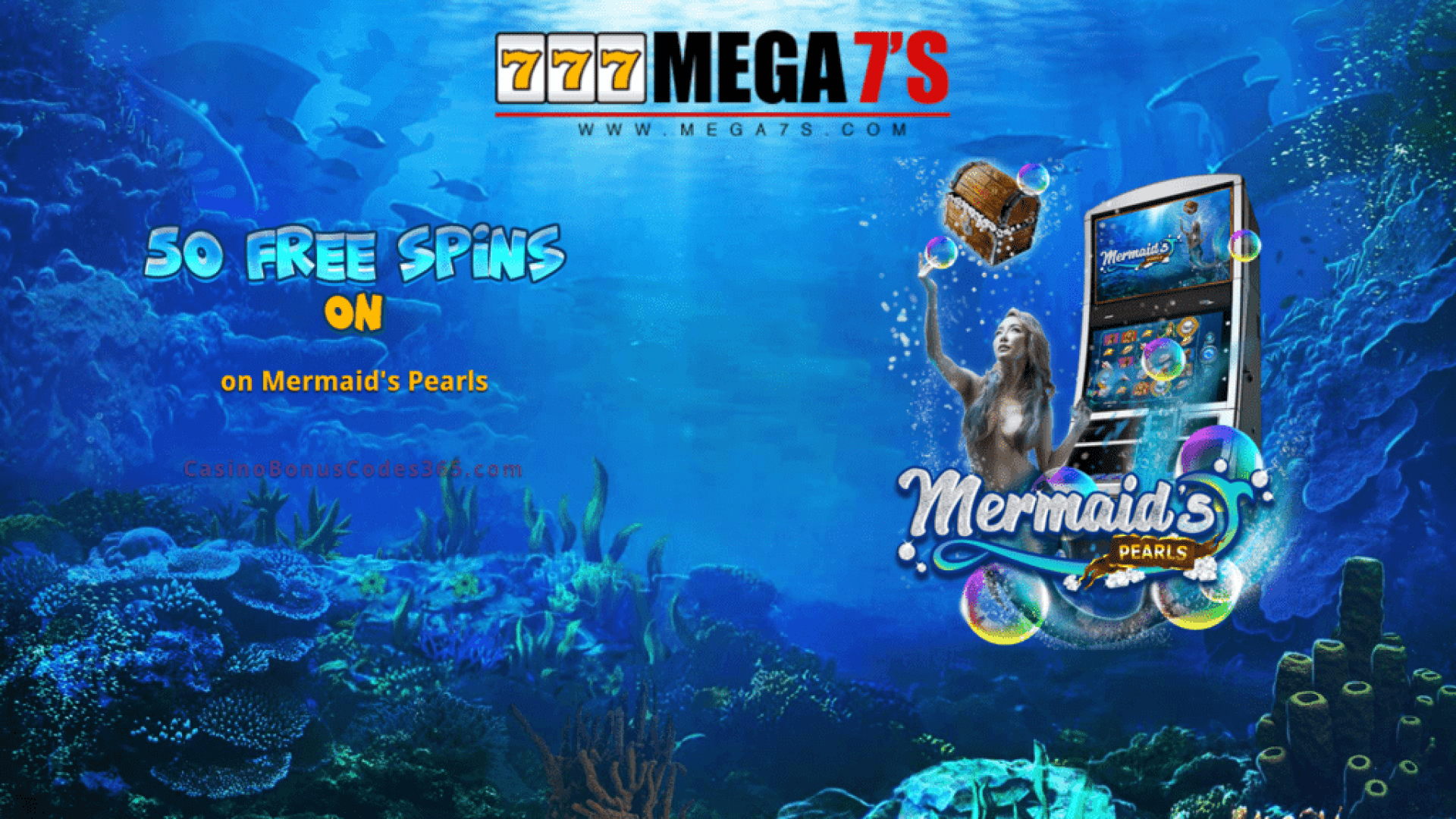 Mega7s Casino 50 FREE RTG Mermaid's Pearls Spins Exclusive Welcome Offer