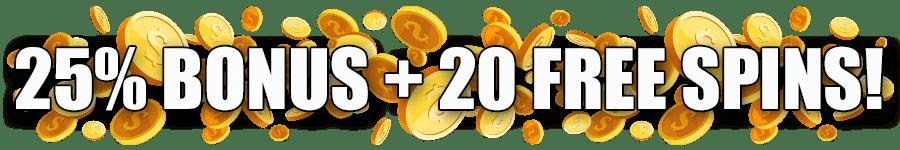Omni Slots Stellar Reawards Bonus 25% Bonus plus 20 FREE Spins