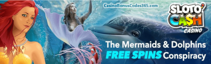 SlotoCash Casino Mermaids and Dolphins 350 FREE Spins Pack RTG Mermaid's Pearls Mermaid Queen