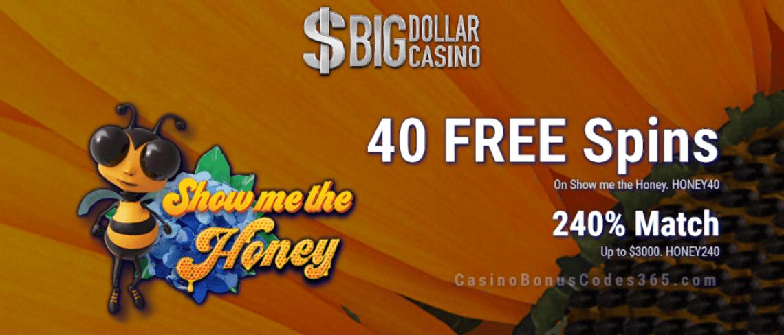 Big Dollar Casino 40 FREE Spins on Saucify Show me the Honey plus 240% Match Bonus Exclusive Promo