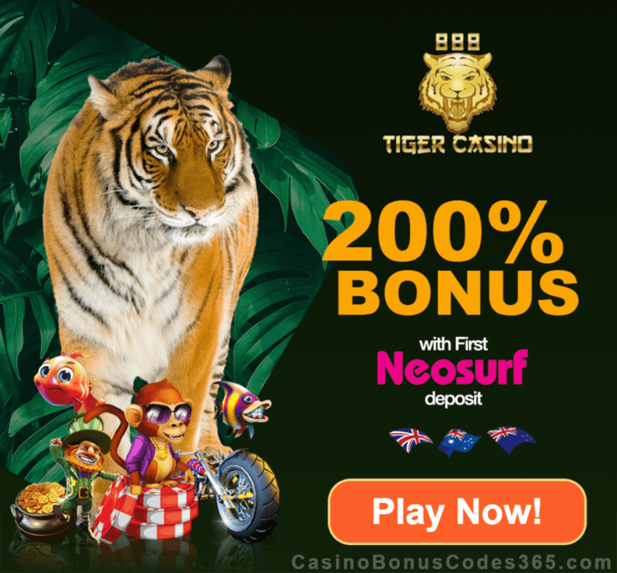 888 Tiger Casino 200% Match Bonus for First Neosurf Deposit