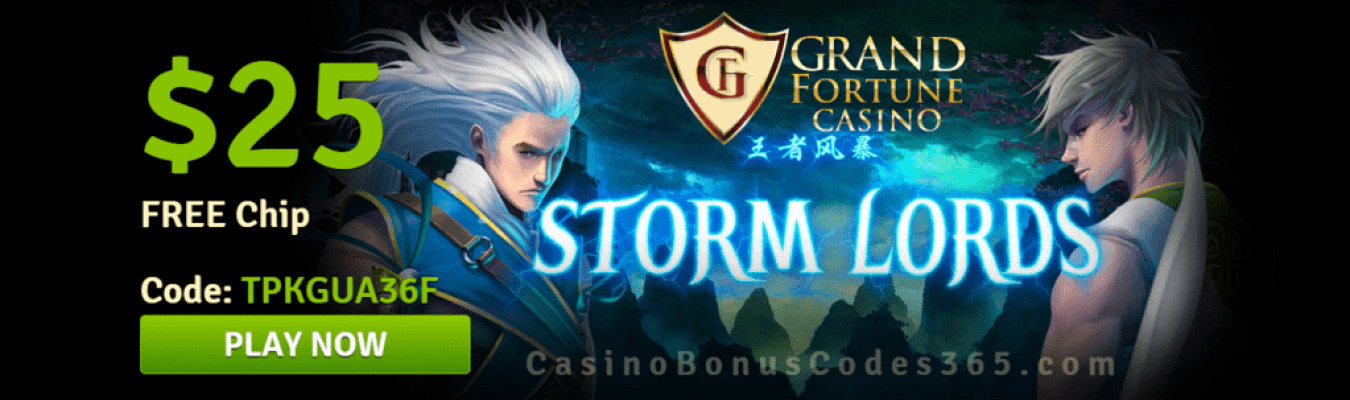 Grand Fortune Casino New RTG Game Storm Lords $25 FREE Chip Special Promo