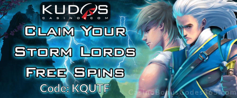 Kudos Casino New RTG Game 20 FREE Spins on RTG Storm Lords