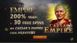 Slots Empire 200% Match Bonus plus 30 FREE RTG Caesar's Empire Spins Welcome Package