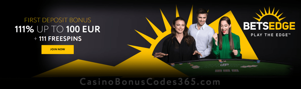 BetsEdge Casino 111% Match up to €100 First Deposit Bonus plus 111 FREE Spins Welcome Package