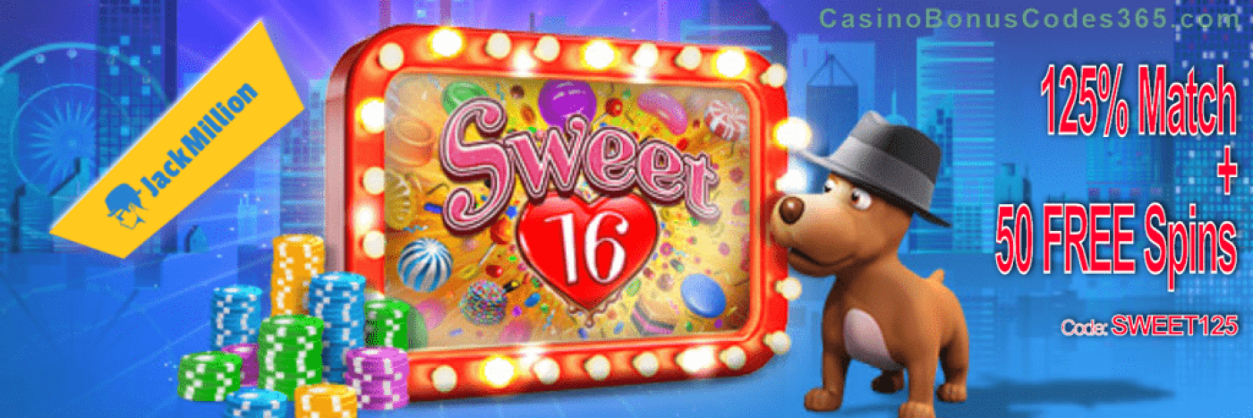 JackMillion 125% Match plus 50 FREE RTG Sweet 16 Spins Special Deal