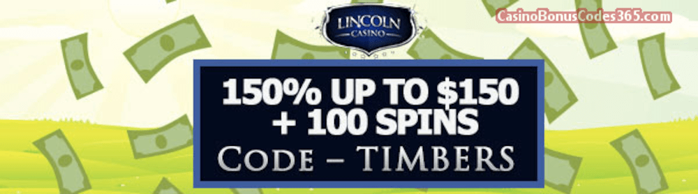 Lincoln Casino 150% up to $150 Bonus plus 100 FREE Spins on WGS Cash Grab Special Welcome Deal