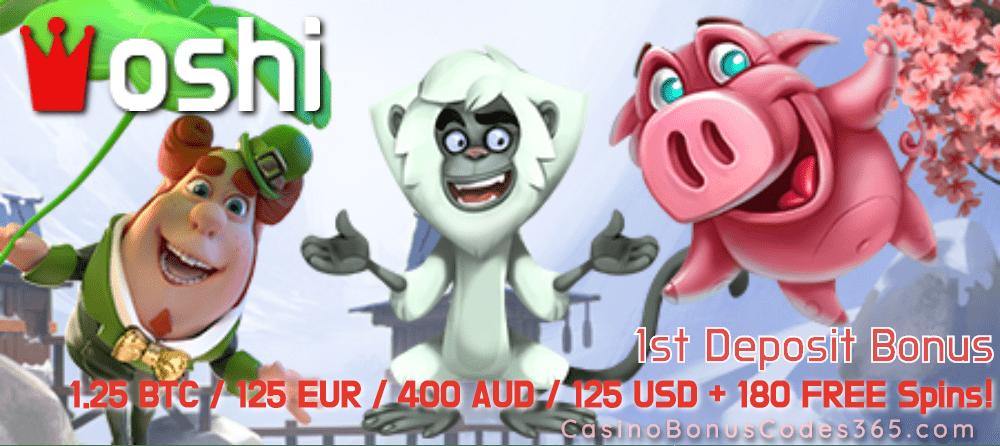 Oshi Casino 1.25 BTC plus 180 FREE Spins First Deposit Bonus