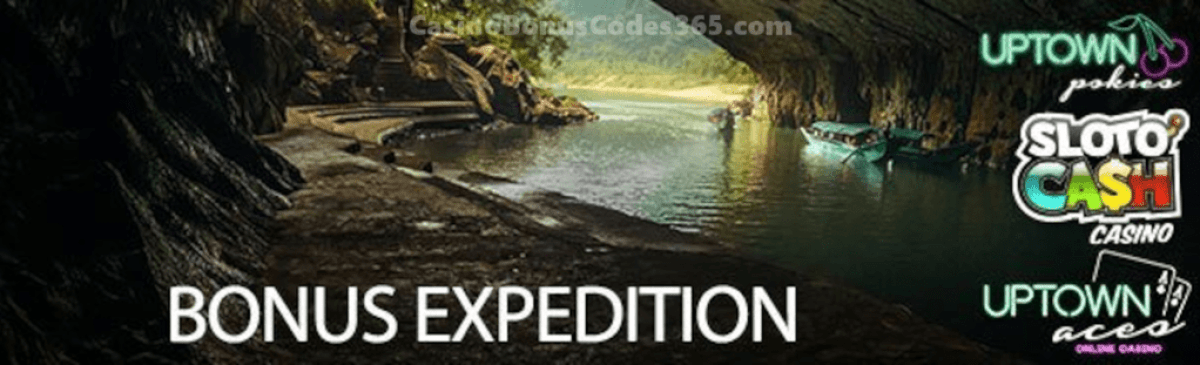 SlotoCash Casino, Uptown Aces and Uptown Pokies September Bonus Expedition Pack